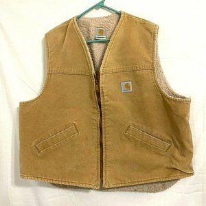 Carhartt Tan Fleece Lined Sandstone Canvas Vest 2X